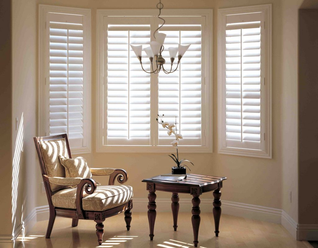 image of living area with white blinds